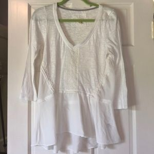 Anthropologie White long Sleeve peplum top size M